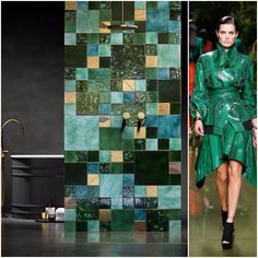 Stick to a color theme that expresses your personality and play around by mixing different textures and patterns. Voila! Your statement wall is ready. #30daysofFashionMeetsTile #tiles #tileart #tiledesign #tileaddiction #interiordesign #interiors #pecchioli #balmain #interiordesigner #interiorinspo #interiorstyle #fashiondaily #fashioninspo #fashioninsta #designerfashion #designinspiration #designerwear  #luxuryhomes #interior4all #interiorart #interiorandhome #interiorwarrior