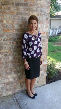 Black pencil skirt w/purple floral blouse