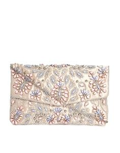 New Look Pastel Embellished Envelope Clutch Bag in Cream with Pink and Blue Beaded Flowers $47.62 -   Embellished floral design Faceted jewels and beaded detail  Slim inner compartment Flap front closure Inner clip pocket Chain handle strap