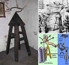 """Instrumento de tortura conocido como """"la cuna de Judas"""""""