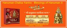 The blessed Hanuman Chalisa Yantra is a one-of-a-kind gold-plated Yantra with Complete Hanuman Chalisa printed in a miniature form, which is visible to naked eyes. Original Shri Hanuman chalisa yantra is available only at Rs 4950 + 250 on COD and Rs. 4455 + 250 for online payment deliveries. More Information and Buy Now Hanuman Chalisa Yantra visit now http://hanumanchalisayantra.com/