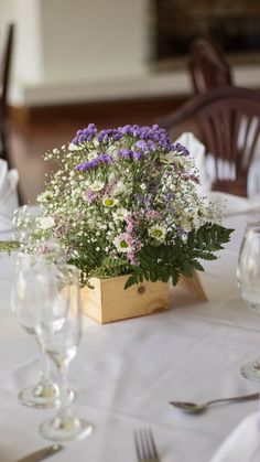 Wedding centerpiece made with wild flowers