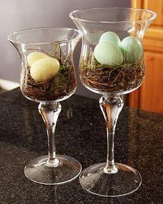A good use for all of those glass votive glasses, or even big wine glasses. Pottery Barn Knock Off- Decorative Speckled Egg Vase Filler