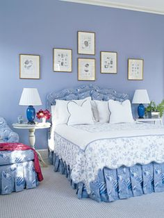 Blue Bedroom: Everybody loves blue and white. These periwinkle walls in Benjamin Moore Riviera Azure contrast nicely with the bright white linens and pictures.<- that color is absolutely beautiful! Periwinkle Bedroom, Blue Bedroom, Bedroom Decor, Periwinkle Blue, Bedroom Ideas, Bedroom Designs, Teen Bedroom, Bedroom Inspiration, Blue Rooms