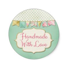 Handmade With Love Bunting Product Packaging Classic Round Sticker