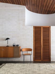 Beautiful interiors architecture with contrasting wood and white.