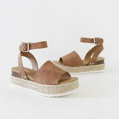 Ankle Strap Sandal Espadrille-lined Sole Sporty Wave-siped Flatform Tan Nubuck