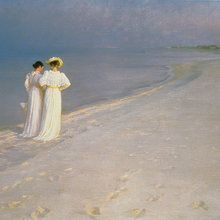 Fototapete - Summer Evening on the Skagen Southern Beach with Anna Ancher and Marie Kroyer - Peder Severin Kroyer