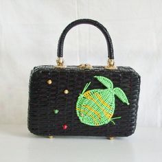 Vintage black wicker handbag with green and yellow by trendybindi, $65.00
