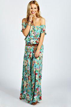 Jamie Off The Shoulder #floral maxi dress #boho #style #fashion
