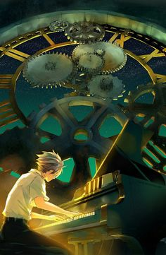 Art-anime style illustration of boy playing piano with huge steampunk clock gear in background
