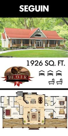 360 degree curb appeal The most unique feature of the Beaver Homes and Cottages Seguin model is its versatility of showing either side as the front of the house depending. New House Plans, Dream House Plans, House Floor Plans, Unique House Plans, Ranch Style Floor Plans, Simple Floor Plans, Pole Barn House Plans, Lake House Plans, Ranch House Plans
