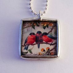 Solder Glass Necklace  Vintage Birds and by mysweetseptember