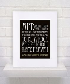 Led Zeppelin Lyrics - Stairway to Heaven - 11x14 - poster print