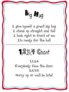 """Line-up Chants!  Go to the website to download a FREE book of """"Line-up Chants"""" from whattheteacherwants.blogspot.com."""