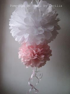 Pompones de Papel Doble Tissue Paper Flowers, Paper Flower Backdrop, Wedding Aniversary, Mexican Birthday, Diy And Crafts, Paper Crafts, Baby Shawer, Deco Originale, Ballerina Party