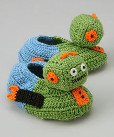 Robot Crocheted Booties - no pattern, but surely I can reconstruct them from pic
