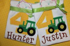 Adorable Tractor Birthday Shirt. $23.00, via Etsy.
