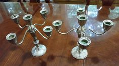 VINTAGE PAIR OF STERLING SILVER .925 5 CANDLESTICK CANDELABRA HEAVY