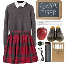 School Girl by child-of-the-tropics on Polyvore featuring moda, 3.1 Phillip Lim, Alexander Wang, Olympia Le-Tan, Dr. Martens, Timex,…
