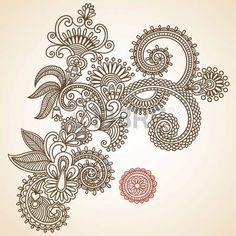 Dibujado a mano Mendie Resumen Flores Henna Doodle Ilustración Vectorial Diseño de Elementos