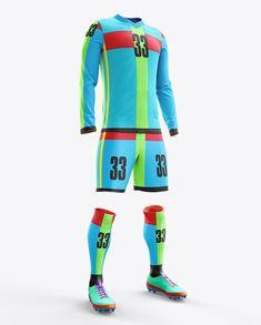Football Kit with V-Neck Long Sleeve Mockup / Half-Turned View in Apparel Mockups on Yellow Images Object Mockups Soccer Kits, Football Kits, Goalkeeper Kits, Shirt Template, Team Wear, Shirt Mockup, Sport T Shirt, V Neck, Earn Money