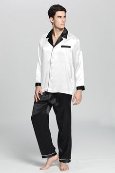 Name:Deep Contra Silk Pajamas Set For Men Style: Two-piece #pajamas set. Collar: Notched collar in black. Sleeve Type: Long Sleeves with black wrist bands. Pockets and Locations: One fake pocket for decor at left chest. Closure: Silk-wrapped button front. Matching Pants: Full length and wide-leg with drawstring, with ankle lining. Material:100% silk of 22 Momme silk weight.
