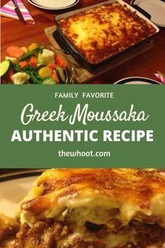 Moussaka Recipe Greek, Mousaka Recipe, Meat Recipes, Cooking Recipes, Recipies, Greek Dishes, Main Dishes, Recipe Instructions, Pasta