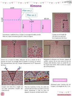 Crochet ideas 304978206007368106 - Tuto kimono 1 Source by agnesoriol Trash To Couture, Dress Sewing Patterns, Fabric Sewing, Skirt Patterns, Blouse Patterns, Kimono Blouse, Blog Couture, Kimono Pattern, Couture Sewing