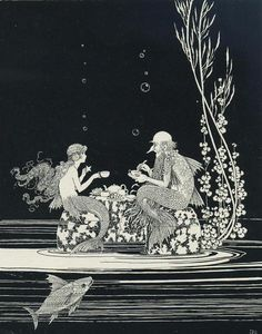 """Vintage Illustration Vintage Illustration by Ida Rentoul Outhwaite – """"The Merman's Glass House"""". Appeared in the book """" The Little Fairy Sister"""" - illustration from """"The Little Fairy Art And Illustration, Mermaid Illustration, Vintage Illustrations, Vintage Mermaid, Mermaid Art, Mermaid Paintings, Tattoo Mermaid, Mermaid Style, Inspiration Art"""
