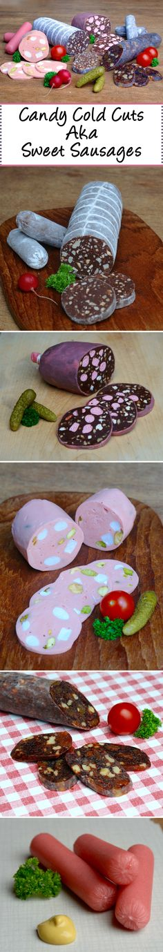 These look like savory sausages, but they are all actually sweet desserts! Learn how to make a chocolate salami and more! Chocolate Torte, Chocolate Color, Homemade Chocolate, Chocolate Desserts, Chocolate Candies, New Year's Desserts, Sweet Desserts, Salami Recipes, Cold Cuts
