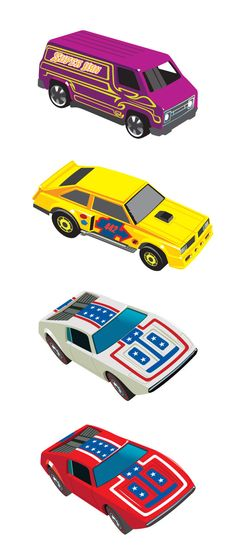 80's Hot Wheels Cars by Andy Cake, via Behance