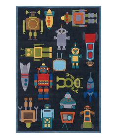 Lil Mo by Momeni Rugs. Look what I found on #zulily! Steel Blue Robot Rug #zulilyfinds