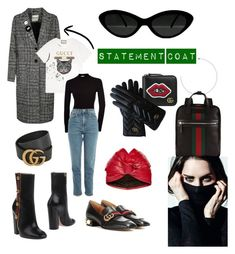 """""""Statement coat with Gucci details"""" by lucijaspasovska ❤ liked on Polyvore featuring Gucci, Topshop, outfit, denim, ootd, gucci and statementcoats"""