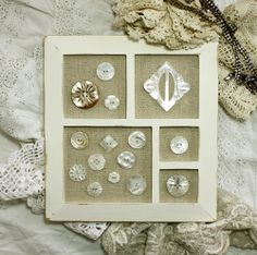 Pretty framed buttons-I'd love to do this with skeleton keys. Already have an empty frame like that, need to paint and distress it.