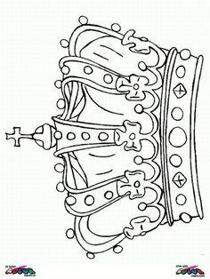 kleurplaat kroon koninginnedag prinses knutselen