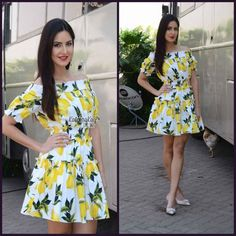 Here's Katrina Kaif's look for promotions . Bollywood Fashion, Bollywood Actress, Prom Dresses, Summer Dresses, Katrina Kaif, Casual Chic Style, Celebs, Celebrities, Latest Fashion Trends