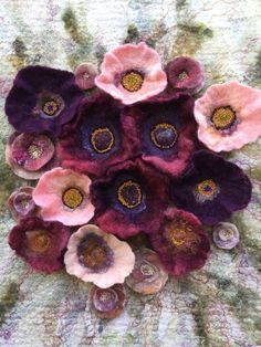 No.25 Maroon Floral - Wet felted wall hanging