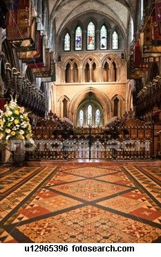 Interior view of central nave, with beautifully decorated pavement floor, looking towards altar and choir stalls, Romanesque ceiling and chapel walls, St Patrick's Cathedral, Dublin, Southern Ireland