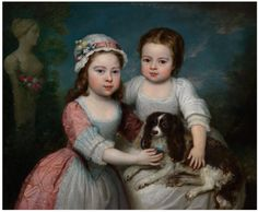 English School (Circa 1800) -   Portrait of two girls and a spaniel -   Oil on canvas, 63 x 76.5 cm. (24 3/4 x 30 1/8 in)