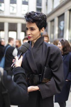 Paris Fashion Week street style.  [Photo by Kuba Dabrowski] what a beautiful face!