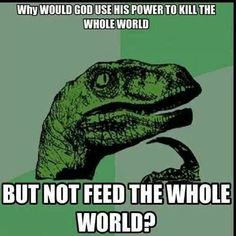 Why would god use his power to kill the whole world, but not feed the whole world?
