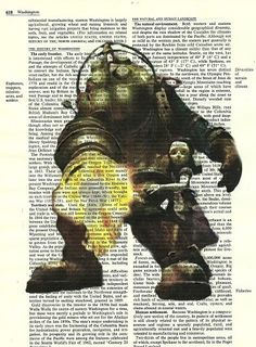Bio Shock Big Daddy Video Game Avatar Vintage Dictionary Altered Page Art