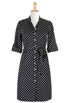 Graphic polka dot print covers our casually chic cotton satin shirtdress shaped with center back seaming and carefully placed darts at the bodice.