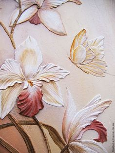 """Купить """"Орхидеи"""" объемная фреска - бежевый, орхидеи, фреска, картина из частей…"""
