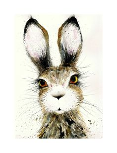 Large Print of my Original Watercolour Painting Cute Hare A3