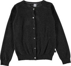 Georgina - Dark Grey Melange - long sleeve dark grey knit cardigan