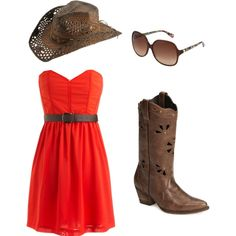 Country dress with boots & hat... Thought of you @Bethany Stempert