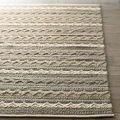 Mallory Neutral Striped Wool Rug | Crate and Barrel