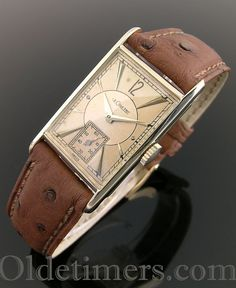 A 14 ct gold rectangular vintage LeCoultre watch, 1940s